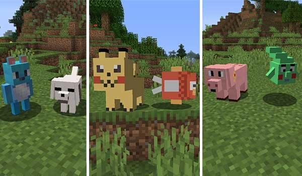 Imagen compuesta donde podemos ver algunas de las entidades que generará el mod Anime Pets 1.16.5.