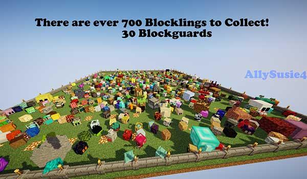Imagen donde podemos ver un ejemplo del montón de variantes de Blocklings que podremos coleccionar gracias al mod Blockling Collection 1.16.4 y 1.16.5.