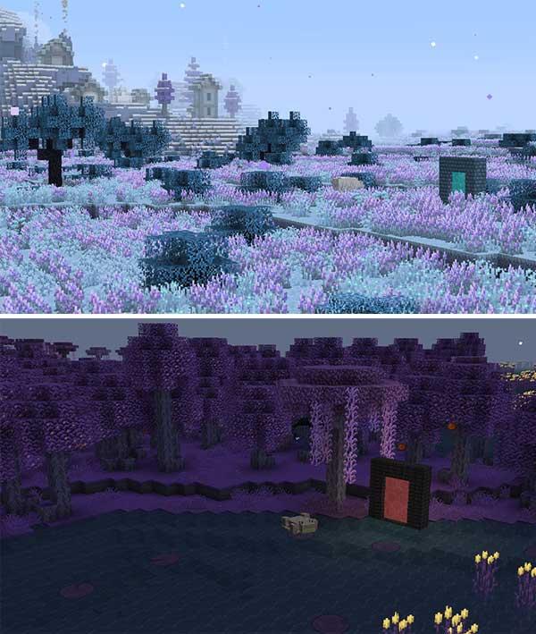 Imagen donde podemos ver las dos nuevas dimensiones que podemos explorar tras instalar el mod Blue Skies 1.16.5.