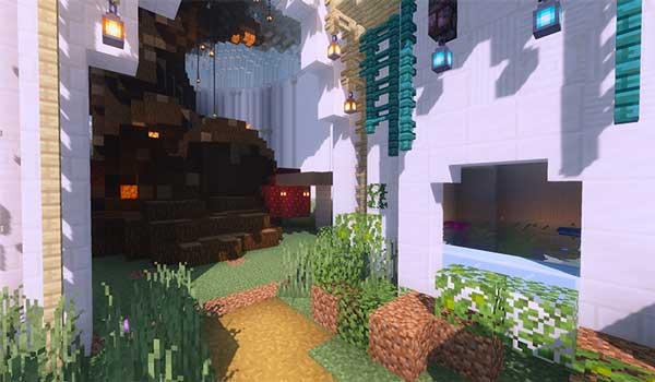 Imagen donde podemos ver la entrada al calabozo del castillo que agrega el mod Castle in the Sky 1.16.5.