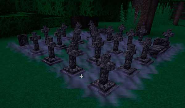 Imagen donde podemos ver uno de los cementerios naturales que se generarán tras instalar el mod Corail Tombstone 1.17.1.