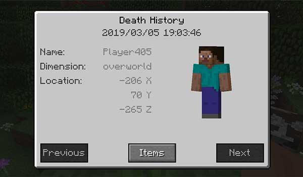 Imagen donde podemos ver el histórico de muertes, y otras informaciones, que nos ofrece el mod Corpse 1.17.1.
