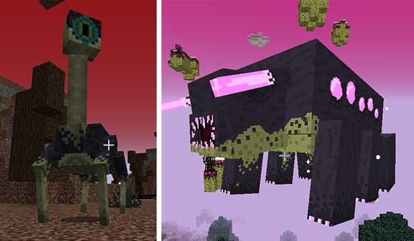 Imagen donde podemos ver dos de las criaturas que encontraremos tras instalar el mod Exotic Critters 1.16.1, 1.16.2, 1.16.3, 1.16.4 y 1.16.5.
