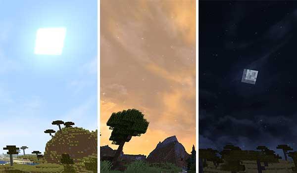 Imagen compuesta donde podemos ver el aspecto que tendrá el cielo diurno, un atardecer y el cielo nocturno con el paquete de texturas Fancy Skies Texture Pack 1.16, 1.15 y 1.12 instalado.