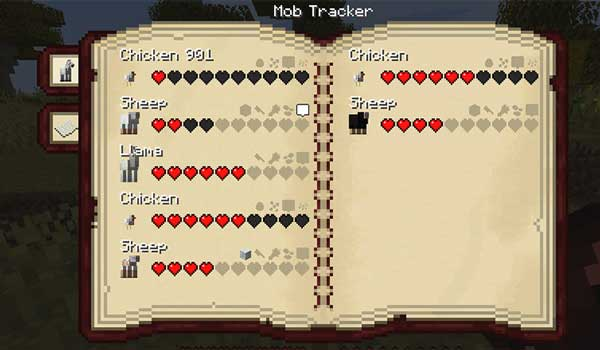 Imagen donde podemos ver la guía, llamada Mob Tracker, que añade el mod Husbandry 1.16.5.