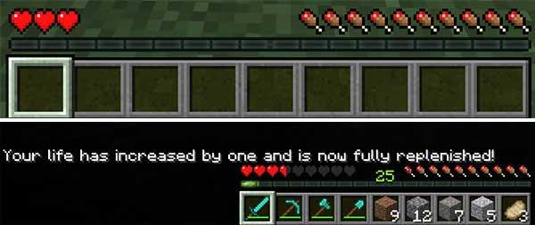 Imagen donde podemos ver cómo un jugador expande la cantidad de corazones gracias al mod Level Hearts 1.17.1.