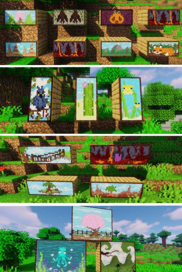 Imagen donde podemos ver algunos ejemplos de las nuevas pinturas que nos ofrece el mod Macaw's Paintings 1.16.4 y 1.16.5.