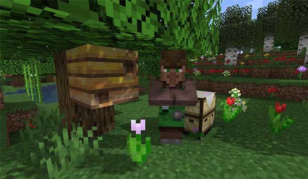 Imagen donde podemos ver una de las nuevas profesiones de aldeano que encontraremos tras instalar el mod More Villagers 1.17.1.