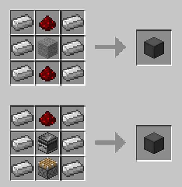 Imagen donde podemos ver cómo se fabrican los bloques que nos permiten elaborar los ascensores que ofrece el mod Moving Elevators 1.17.1.