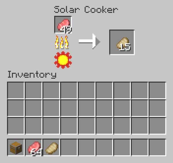 Imagen donde podemos ver el inventario propio que tiene la cocina solar que podremos fabricar con el mod Solar Cooker 1.16.1, 1.16.2, 1.16.3, 1.16.4 y 1.16.5.