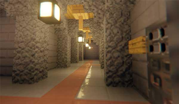 Imagen donde podemos ver el interior de una construcción, decorada con el paquete de texturas Textureless 1.16.
