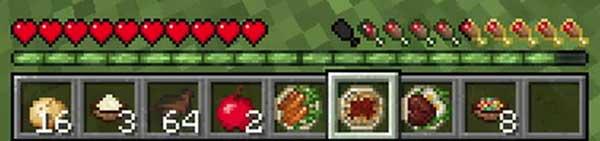 Imagen donde podemos ver la información nutricional que añade el mod AppleSkin 1.17.1 a la barra de hambre del personaje.