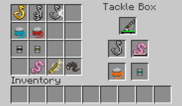 Imagen donde podemos ver el inventario del Tackle Box que agrega el mod Aquaculture 1.17.1.