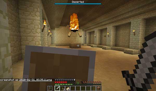 Imagen donde podemos ver a un jugador luchando contra uno de los jefes que añade el mod Dungeons Mod 1.17.1.
