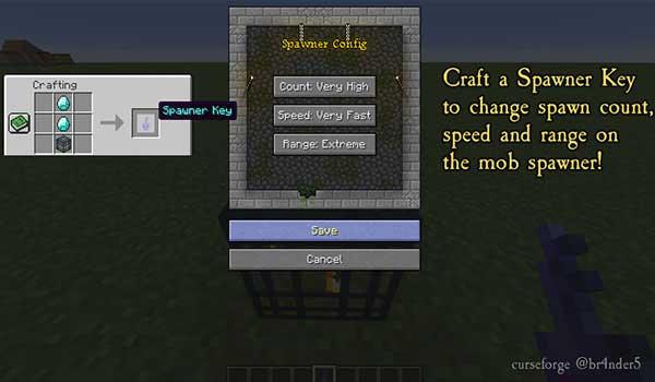 Imagen donde podemos ver la interfaz gráfica de los generadores de criaturas que podremos crear con el mod Enhanced Mob Spawners 1.17.1.