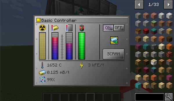 Imagen donde podemos ver la interfaz de uno de los controladores de reactores que ofrece el mod Extreme Reactors 1.17.1.