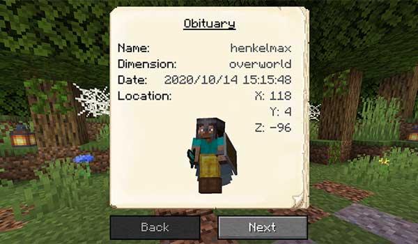 Imagen donde podemos ver el obituario que nos ofrece el mod GraveStone 1.17.1.