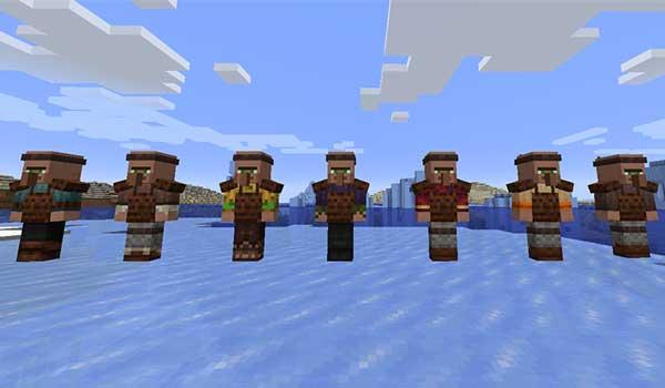 Imagen donde podemos ver a algunos de los guardianes de los pueblos que serán los encargados de generar el mod Guard Villagers 1.17.1.