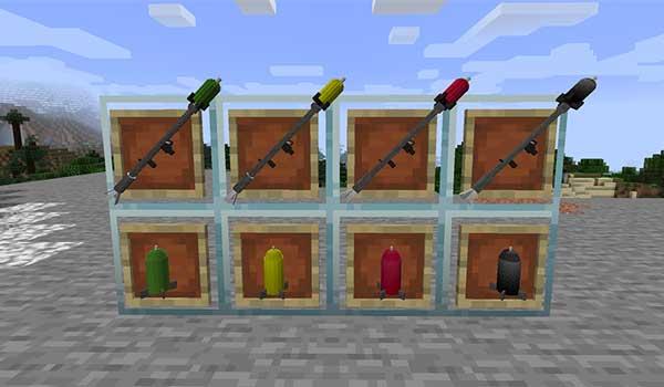 Imagen donde podemos ver los lanzallamas que podremos fabricar con el mod Guns, Rockets and Atomic Explosions 1.17.1.