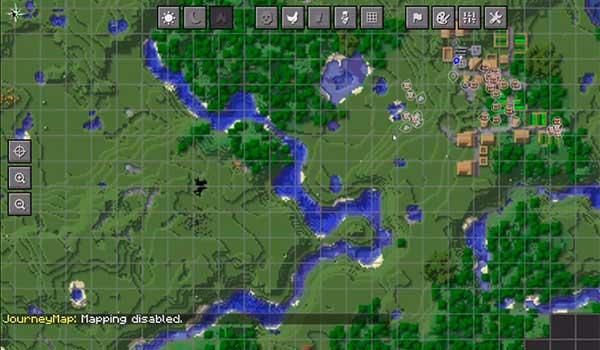 Imagen donde podemos ver un ejemplo del mapa a pantalla completa que nos ofrecerá el mod JourneyMap 1.17.1.