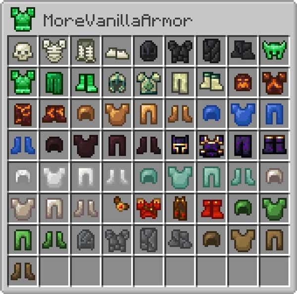 Imagen donde podemos ver una exposición con las armaduras que podemos fabricar con el mod More Vanilla Armors 1.17.1.