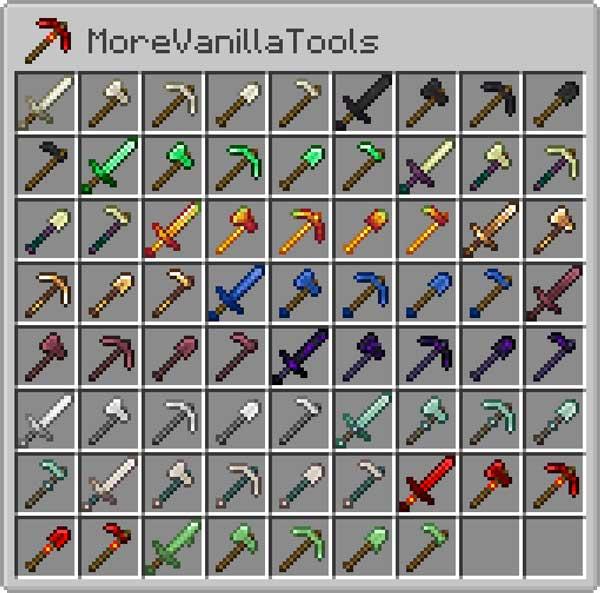 Imagen donde podemos ver todas las nuevas armas y herramientas que podemos hacer con el mod More Vanilla Tools 1.17.1.