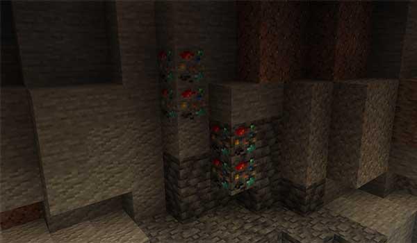 Imagen donde podemos ver una veta del nuevo recurso mineral que generará el mod Randomite 1.17.1.