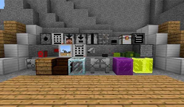 Imagen donde podemos ver algunos de los dispositivos de seguridad que podemos fabricar con el mod SecurityCraft 1.17.1.