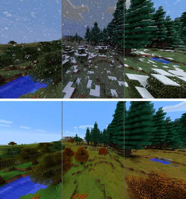 Imagen donde podemos ver los efectos de las estaciones del año, del mod Serene Seasons 1.17.1, en el mundo que nos rodea.