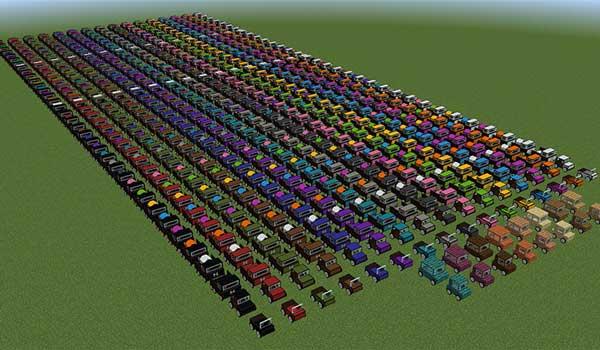 Imagen donde podemos ver una exposición de todas las variantes de vehículo que podremos fabricar con el mod Ultimate Car 1.17.1.