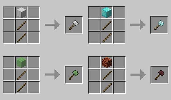 Imagen donde podemos ver como se fabrican algunas de las nuevas palas que podemos fabricar con la Vanilla Excavators 1.17.1 mod.