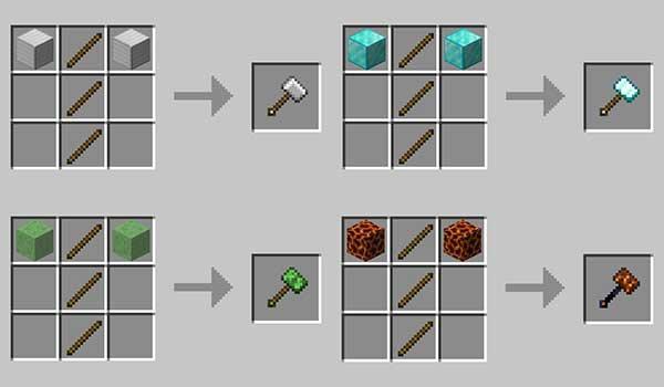 Imagen donde podemos ver cómo se fabrican algunos de los martillos que nos ofrece el mod Vanilla Hammers 1.17.1.
