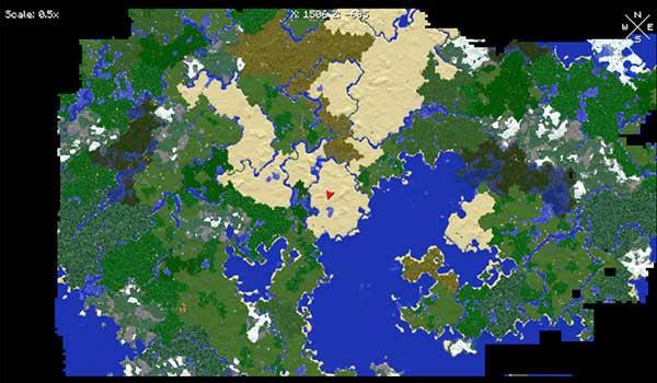 Imagen de ejemplo donde podemos ver un mapa, a pantalla completa, generado por el mod Xaero's World Map 1.17.1.