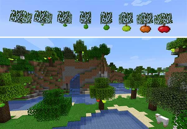 Imagen compuesta donde podemos ver las fases de crecimiento de las manzanas que añade el mod Apple Trees Revived y un paisaje de árboles llenos de manzanas.