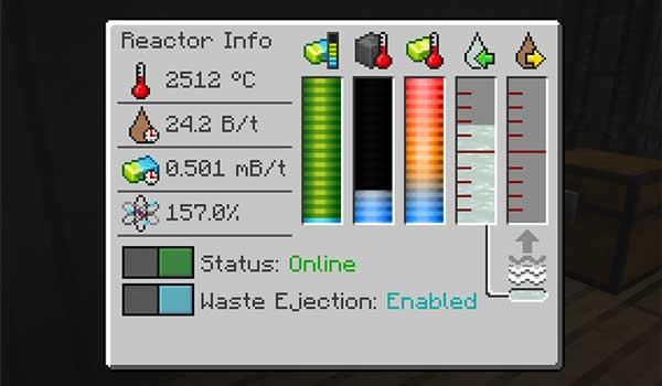 Imagen donde podemos ver la interfaz gráfica de uno de los reactores que podremos construir gracias al mod Bigger Reactors 1.17.1.
