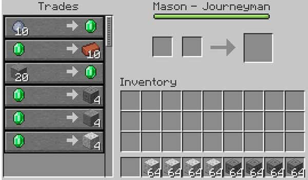 Imagen donde podemos ver la interfaz de comercio de un aldeano después de instalar el mod Infinite Trading 1.17.1.