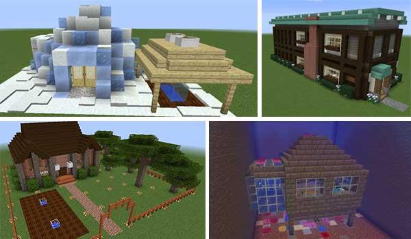 Imagen donde podemos ver algunos ejemplos de las construcciones prefabricadas que podremos crear con el mod Prefab 1.17.1.