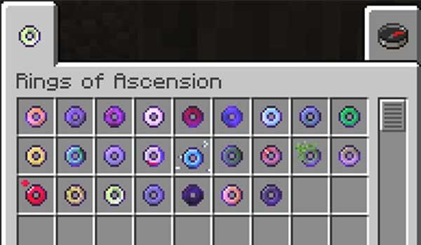 Imagen donde podemos ver una exposición con todos los anillos que podremos utilizar con el mod Rings of Ascension 1.17.1 instalado.