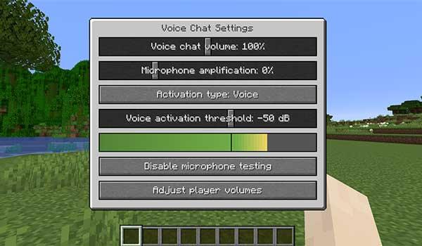 Imagen donde podemos ver la interfaz de configuración de opciones del mod Simple Voice Chat 1.17.1.