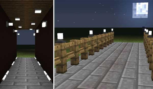 Imagen compuesta donde podemos ver algunos ejemplos de las nuevas luces que nos ofrece el mod Simply Light 1.17.1.