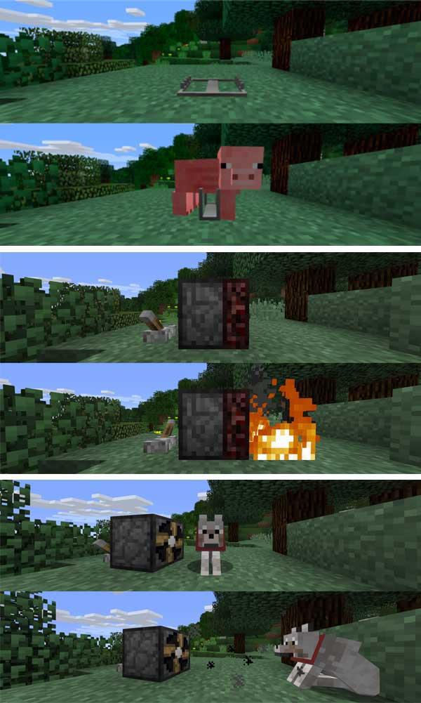 Imagen compuesta donde podemos ver algunas de las trampas para entidades que podemos realizar con el mod Trapcraft 1.17.1.
