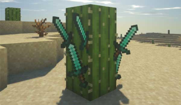Imagen donde podemos ver cinco espadas clavadas en un cactus, gracias a la función que ofrece el mod Weapon Throw 1.17.1.