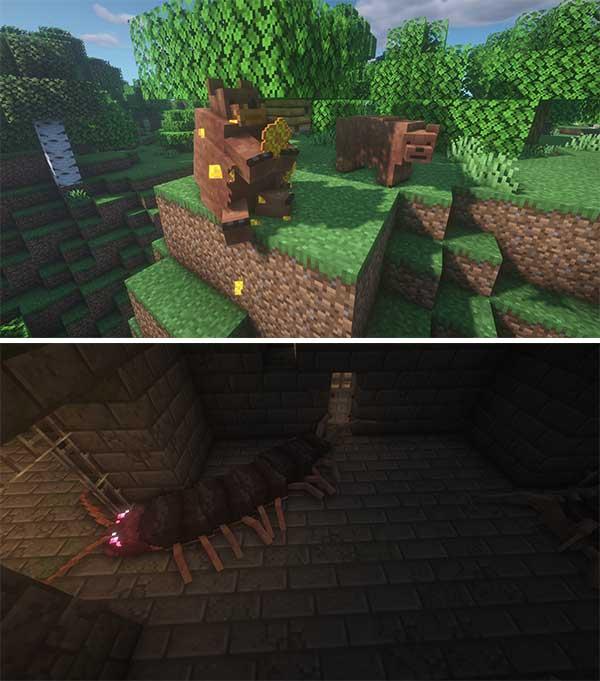 Imagen compuesta donde podemos ver un par de ejemplos de las nuevas criaturas que se generarán con el mod Alex's Mobs 1.17.1.