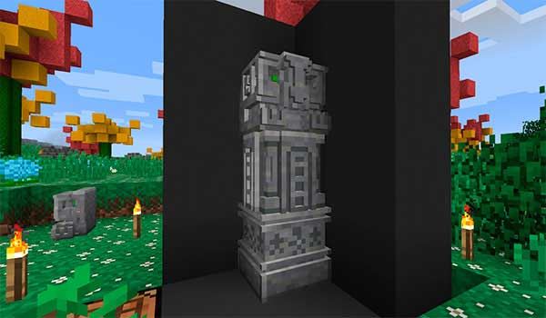 Imagen donde podemos ver una escultura esculpida con las herramientas que nos ofrece el mod Chisels & Bits 1.17.1.