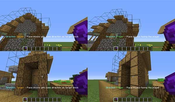 Imagen compuesta donde podemos ver a un jugador utilizando las varitas constructivas que ofrece el mod Construction Wand 1.17.1.