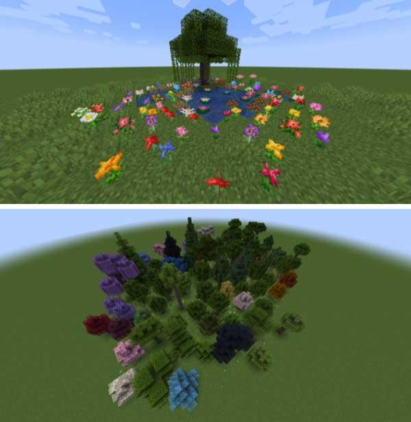 Imagen donde podemos ver la variedad de plantas y árboles que generará el mod Generic Ecosphere 1.17.1.