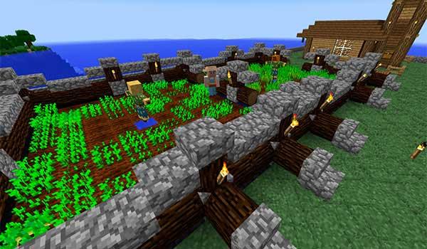 Imagen donde podemos ver un ciudadano del mod MineColonies 1.17.1 cuidando un huerto.