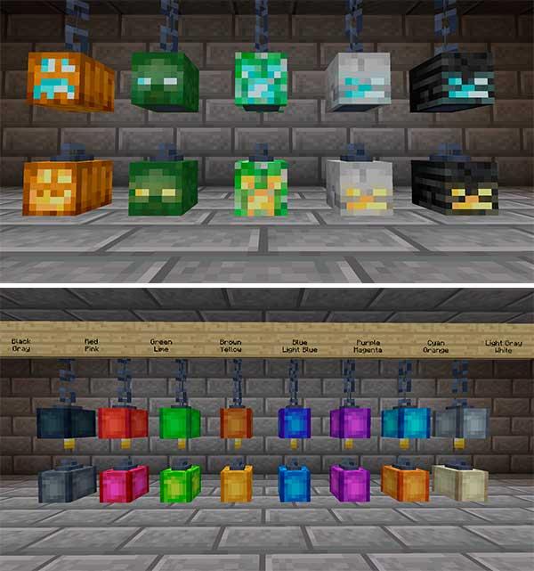 Imagen compuesta donde podemos ver una exposición de varios ejemplos de lámparas creadas por el mod Skinned Lanterns 1.17.1.