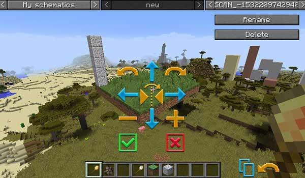 Imagen donde podemos ver un jugador editando el entorno con las herramientas que ofrece el mod Structurize 1.17.1.